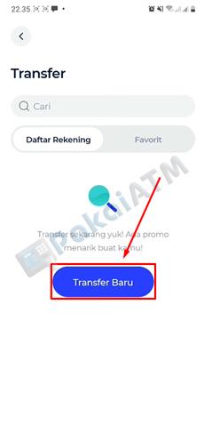 4. Tap Menu Transfer Baru