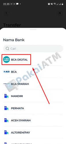 5. Input Nama Bank BCA Digital