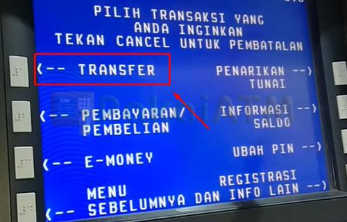 5. Klik Menu Transfer