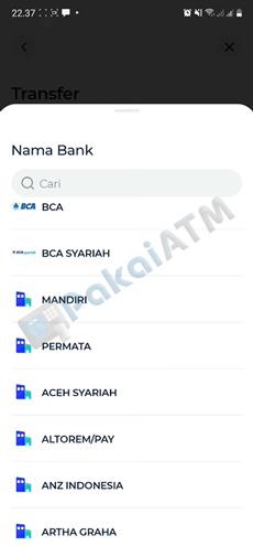 5. Masukan Nama Bank Tujuan