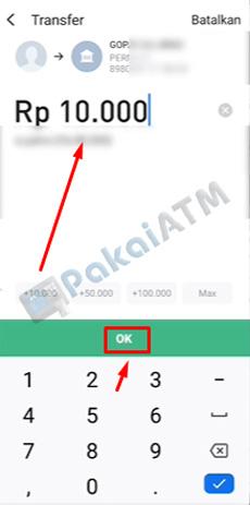 7. Input Jumlah Top Up GoPay