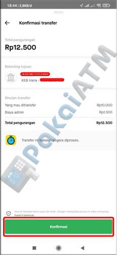 8. Konfirmasi Transfer