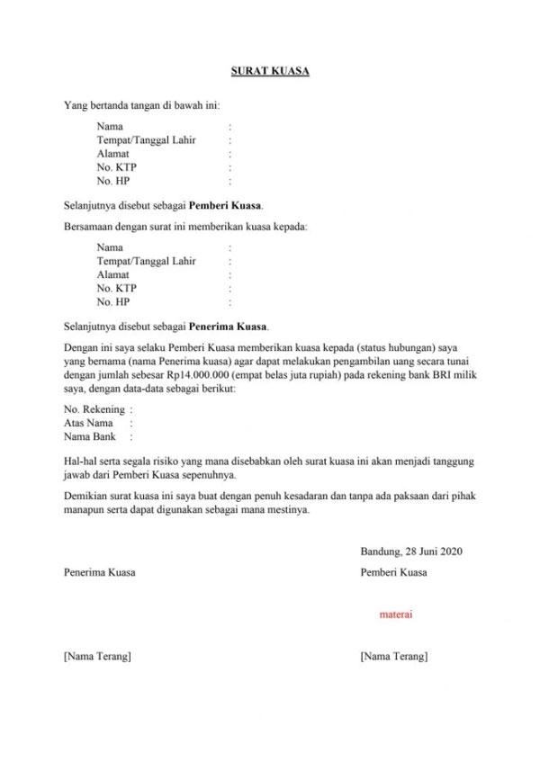 1. Surat Kuasa Pengambilan Uang di Bank BRI
