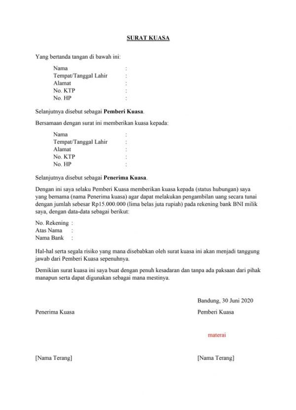 2. Surat Kuasa Pengambilan Uang di Bank BNI