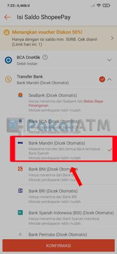 4. Pilih Transfer Bank