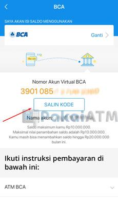 4. Salin Nomor Virtual Account