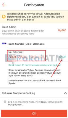 5. Salin Nomor Virtual Account