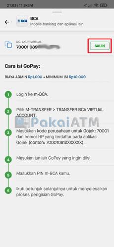 6. Salin Nomor Virtual Account