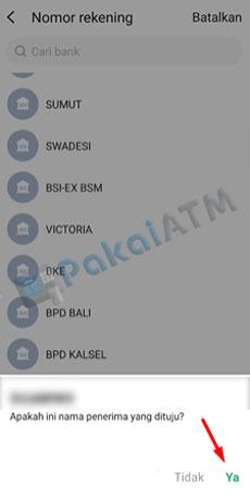 7. Muncul Informasi Nama Rekening SeaBank