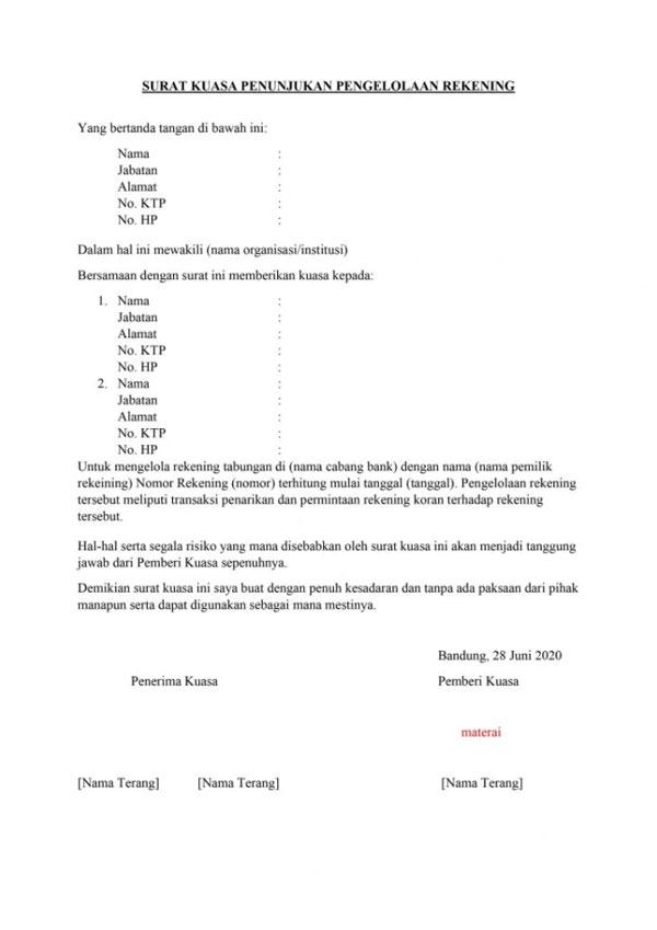8. Surat Kuasa Penggunaan Rekening Bank
