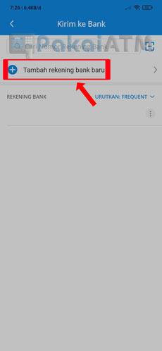 9. Tap Tambah Rekening Bank Baru