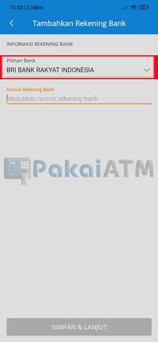 5. Pilih Nama Bank