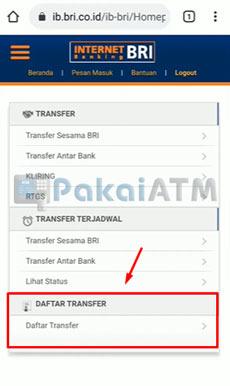 5. Tap Daftar Transfer