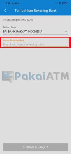 6. Masukkan Nomor Rekening Bank