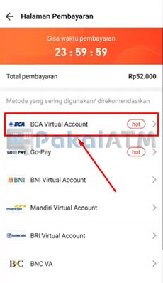 6. Pilih BCA Virtual Account