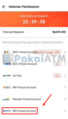 6. Pilih BRI Virtual Account