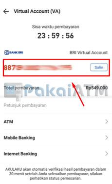 7. Salin BRI Virtual Account
