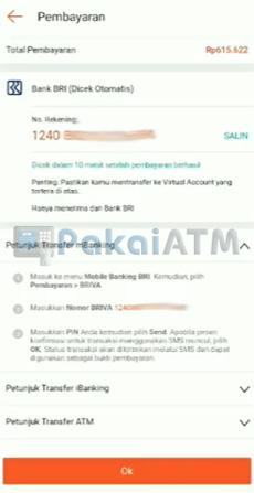 7. Salin Nomor Virtual Account