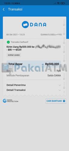 9. Transfer DANA ke Bank BRI Berhasil