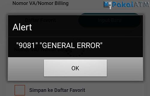 9081 General Error BNI Mobile